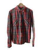 TENDERLOIN(テンダーロイン)の古着「ヘビーフランネルシャツ」|レッド