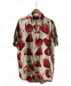 MILK BOY(ミルクボーイ)の古着「ホイップストロベリーシャツ」 ベージュ×レッド