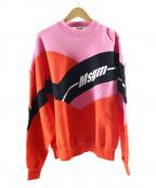 MSGM(エムエスジーエム)の古着「カラーブロッキングロゴスウェット」|ピンク