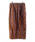 UNITED ARROWS TOKYO(ユナイテッドアローズトウキョウ)の古着「UWSC バティックプリント タイトスカート」|オレンジ