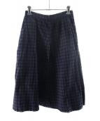 ()の古着「デニムチェッカースカート」 インディゴ