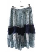 ()の古着「切替再構築フラワースカート」 ブルー