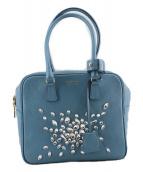 ()の古着「ビジューレザーハンドバッグ」 ブルー