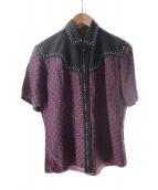 ()の古着「総柄スタッズウエスタンシャツ」|ネイビー