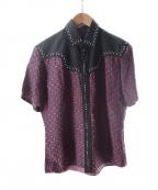 PRADA(プラダ)の古着「総柄スタッズウエスタンシャツ」 ネイビー