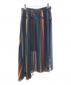 sacai(サカイ)の古着「マルチストライププリーツスカート」|ブラック