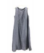()の古着「リネンツイードのドレス」|ブルー