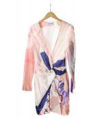 ()の古着「シルクジップデザインワンピース」|ピンク