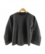 AURALEE(オーラリー)の古着「SUPER MILLED SWEAT CUT-OFF P/O」|ブラック