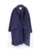 CLANE HOMME(クラネ オム)の古着「OVER SIZE CHESTER COAT」|ネイビー