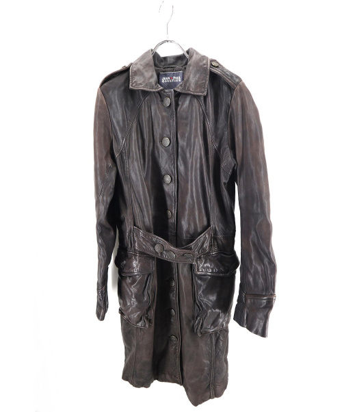 Jean Paul GAULTIER(ジャンポールゴルチエ)Jean Paul GAULTIER (ジャンポールゴルチエ) レザーコート ブラウン サイズ:40の古着・服飾アイテム
