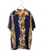 FLAT HEAD(フラット ヘッド)の古着「アロハシャツ」 ネイビー