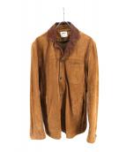 EMMETI(エンメティ)の古着「ゴートスエード切替レザージャケット」|ブラウン