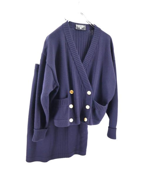 CHANEL(シャネル)CHANEL (シャネル) ヴィンテージセットアップ ネイビー サイズ:40 金釦ダブルカーディガン・ニットスカートの古着・服飾アイテム