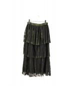 AMERI(アメリヴィンテージ)の古着「PLEATS TIERED SKIRT」|グリーン