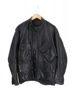 VANSON(バンソン)の古着「4ポケットレザージャケット 90s」|ブラック