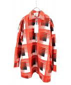 N.HOOLYWOOD(エヌハリウッド)の古着「ハーフジップシャツ」|オレンジ×ホワイト