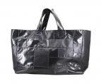 BLACK COMME des GARCONS(ブラックコムデギャルソン)の古着「フェイクレザーパッチワークセミショルダートートバッグ」|ブラック