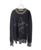 STUDIO SEVEN(スタジオ セブン)の古着「Intersha Star Knit」|ブラック×グレー