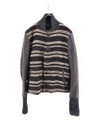 SLOWGUN(スロウガン)の古着「ツイードスタジャン」|ブラック