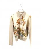 HERMES(エルメス)の古着「シルクスカーフ柄ポロシャツ」|ベージュ×ブラウン