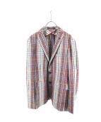 TAGLIATORE(タリアトーレ)の古着「チェックテーラードジャケット」|ベージュ×ブルー