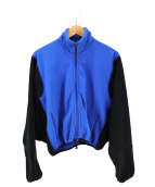 GANRYU(ガンリュウ)の古着「contrast sleeve bomber jacket 」|ブルー×ブラック