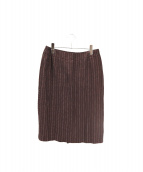 MaxMara(マックスマーラ)の古着「コットンリネンストライプスカート」 ブラウン×ホワイト