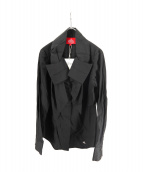 V.W. RED LABEL(ヴィヴィアンウエストウッドレッドレーベル)の古着「フロントリボンデザインシャツ」|ブラック