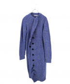 AKANE UTSUNOMIYA(アカネウツノミヤ)の古着「メランジアシンメトリーロングカーディガン」 ブルー