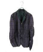 kolor/BEACON(カラービーコン)の古着「ボタンデザインチェックジャケット」|ネイビー×グリーン