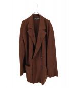 ISSEY MIYAKE(イッセイミヤケ)の古着「ダブルブレストニットジャケット」|ブラウン