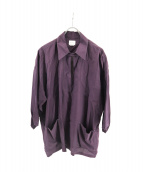 FILL THE BILL(フィルザビル)の古着「RAYON SILK SKIPPER SHIRTS」|ネイビー
