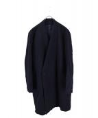 ETHOSENS(エトセンス)の古着「ウールダブルノーカラーコート」|ネイビー