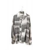 ETHOSENS(エトセンス)の古着「ドレープオープンカラーチェックシャツ」|ホワイト×ブラック