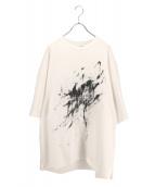 LAD MUSICIAN(ラッドミュージシャン)の古着「ビックシルエットペイントTシャツ」|ホワイト×ブラック