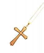 NO BRAND JEWELRY(ノーブランドジュエリー)の古着「K18クロスペンダントネックレス」|ゴールド
