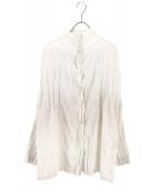 ISSEY MIYAKE FETE(イッセイミヤケ フェット)の古着「ねじりプリーツバンドカラーシャツ」|ホワイト