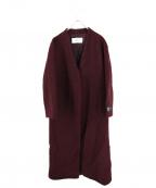 Rouge vif(ルージュヴィフ)の古着「ノーカラーロングコート」|ボルドー