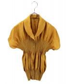 ISSEY MIYAKE FETE(イッセイミヤケ フェット)の古着「プリーツ切替ジャガードブラウス」|イエロー