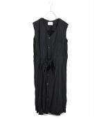 MIDIUMISOLID(ミディウミ ソリッド)の古着「シワ加工ノースリーブワンピース」|ブラック