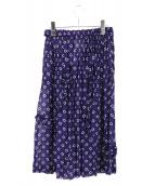 COMME des GARCONS COMME des GARCONS(コムデギャルソンコムデギャルソン)の古着「総柄フリルデザインスカート」|ネイビー