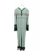 mame kurogouchi(マメ クロゴウチ)の古着「Rib Jacquard Pedicel Knit Dres」|グリーン