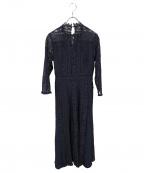 LAGUNA MOON(ラグナムーン)の古着「MIXレースフレアワンピース」|ネイビー