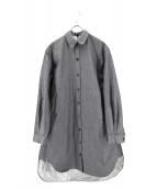 JIL SANDER NAVY(ジルサンダーネイビー)の古着「ライナーメタリック加工シャツワンピース」|グレー