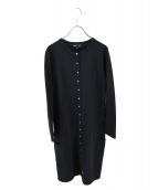 agnes b(アニエスベー)の古着「星柄スナップロングストレッチカーディガン」|ブラック