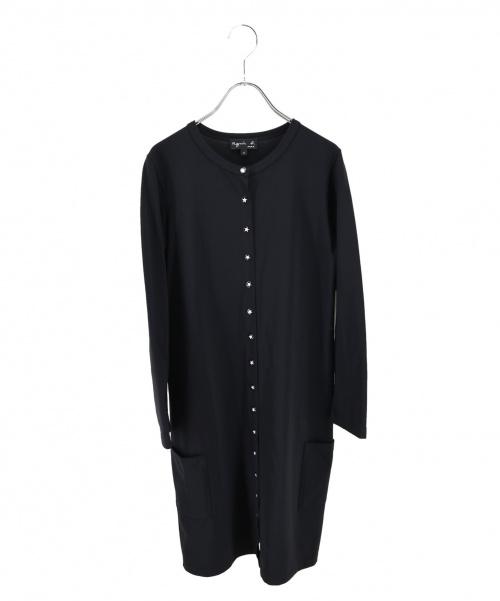 agnes b(アニエスベー)agnes b (アニエスベー) 星柄スナップロングストレッチカーディガン ブラック サイズ:-の古着・服飾アイテム