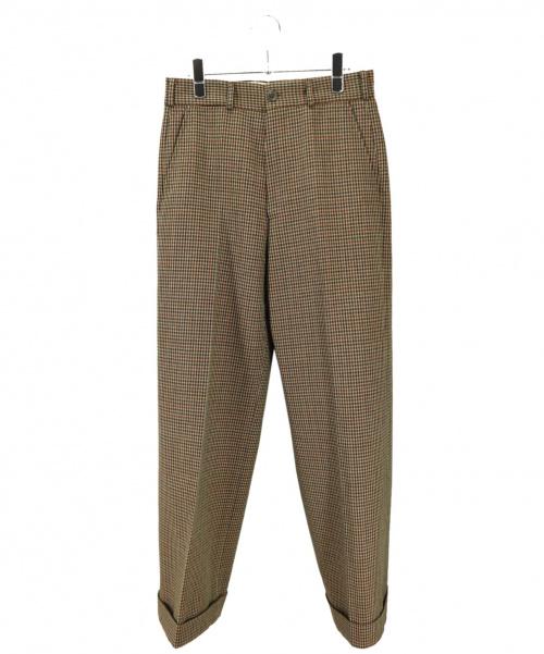 GUCCI(グッチ)GUCCI (グッチ) ハウンドトゥースウールカフパンツ ブラウン サイズ:44の古着・服飾アイテム