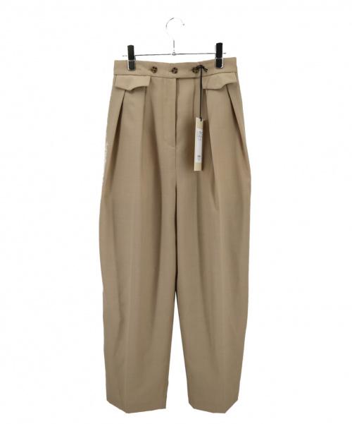 THROW by SLY(スロウバイスライ)THROW by SLY (スロウバイスライ) タックパンツ ベージュ サイズ:2の古着・服飾アイテム