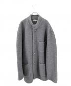 PAPAS(パパス)の古着「胸ロゴステンカラーコート」 グレー